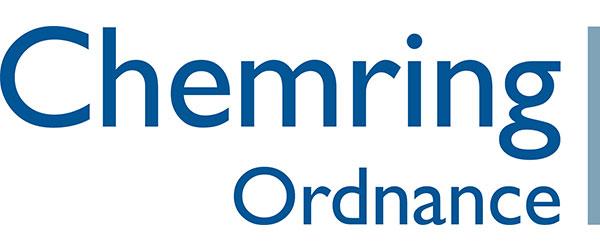 "Chemring Ordnance Logo; Blue lettering of ""Chemring Ordnance"" followed by a green line"