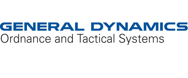 "Image of General Dynamics Logo; ""General Dynamics"" is in large blue letters, written over the words ""Ordnance and Tactical Systems"" in black letters, all on a white background."