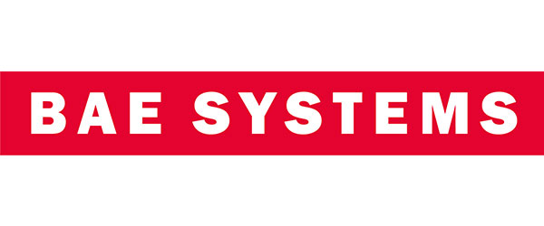 """BAE Systems logo; image of a red rectangle with the words """"BAE SYSTEMS"""" written in white within the rectangle."""