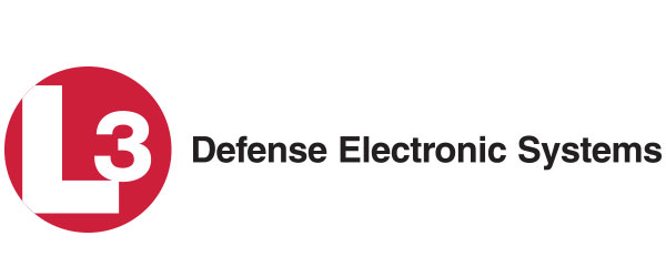 """Image of a symbol """"L3"""" followed by the words: """"Defense Electronic Systems"""". The L3 symbol comprises """"L3"""" in white font, enclosed in a red circle."""