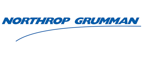"Image of the words ""Northrop Grumman"" in blue lettering. There is a line that is far below ""Northrop"" and curves up to meet the ""n"" in ""Grumman""."