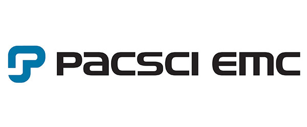 """Image of a symbol, followed by the words: """"PACSCI EMC"""". The symbol resembles the letter """"P"""" and is colored blue."""
