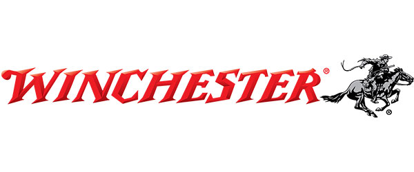 "Winchester Logo; image of the word ""Winchester"" in red lettering, followed by a drawing of a cowboy, carrying a gun, who is riding a horse."