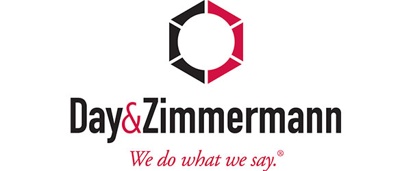 "Day & Zimmermann Logo; includes a black and red circular symbol above the words; ""Day & Zimmermann"" (in black), followed below with: ""We do what we say."" (in red)"