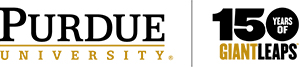 Purdue University 150 years of Giant Leaps logo