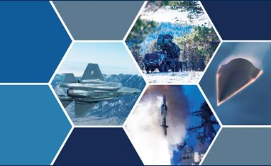 Graphic with four images of stealth aircraft on the ground and in the air. The images are in a grid-like pattern with other blocks of the pattern in blues and grays.