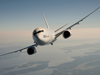 Aviation USW; Image of a plane in flight above a cloudy sky