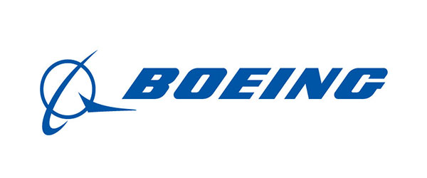 """Image of Boeing label; """"Boeing"""" is written in blue lettering with a symbol to the left in blue. The symbol is a circle with two slashes which makes it look like an icon of a planet."""