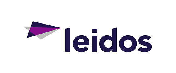 """Leidos logo; shows an image of a paper airplane on the left of the logo, with purple, dark blue, and white colors, followed by """"leidos"""" in dark blue letters."""