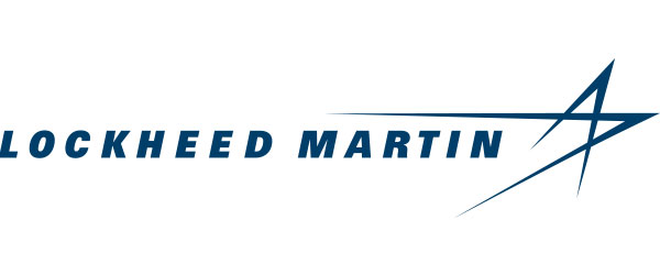 """Lockheed Martin logo; the words """"Lockheed Martin"""" in blue, followed by a blue star in which some of it's legs extend back into the area where """"Martin"""" is located."""