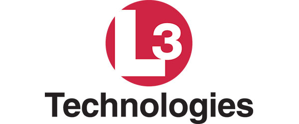 "L3 Logo; includes a red circle with the letters ""L3"" in white lettering. Below is the word ""Technologies"" in black"