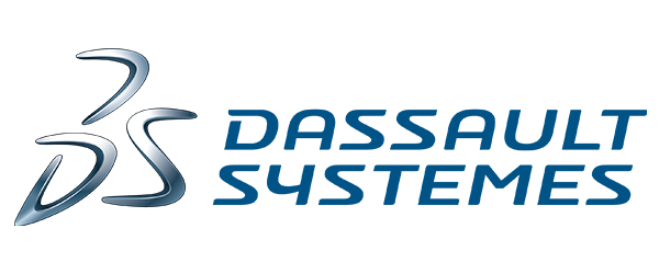 """3DS Logo; The logo has """"3DS"""" in a non-classic font, colored steel, followed by the words """"Dassault Systemes"""" in blue font over a white background."""