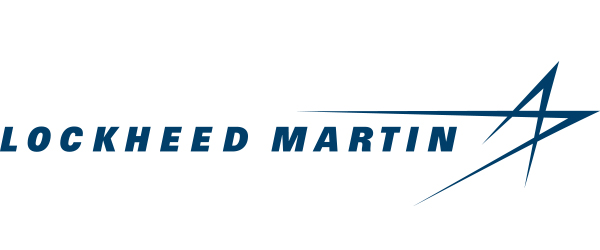 """Image of Lockheed Martin's logo; a line of text, """"Lockheed Martin"""" in blue over a while background. At the end of the text is an elongated star-like image."""