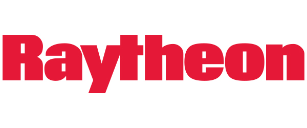 """Image of Raytheon logo: Red text that says """"Raytheon"""" on a white background."""