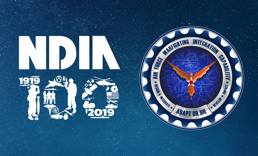 """Image of NDIA and Air Force Warfighting Integration Capability (AFWIC) logos on top of a blue stary background. The NDIA logo is the word """"NDIA"""" in white with the word """"100"""" below, which consists of tiny images of warfighters and weapons. The Air Force logo is an image of an orange bird in the center (with a steel star on its breast), encircled by the words, """"Air Force Warfighting Integration Capability - Impact - Develop - Adapt or Die - Design - Integrate."""