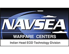 "Image of NAVSEA logo; the words ""NAVSEA"" followed by ""Warfare Centers Indian Head ECD Technology Division"" over a blue background with simple white icons of an air missile, submarine, and undersea missile."