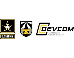 "Image of Michael Connolly's organization logos, including: U.S. Army logo (a black, white, and yellow star over the words ""U.S. Army""), a black and white shield with an anvil in the center of the shield, and a logo that reads: ""DEVCOM Aviation & Missile Center"""