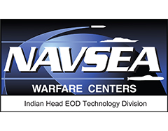 """Image of NAVSEA logo; the words """"NAVSEA"""" followed by """"Warfare Centers Indian Head ECD Technology Division"""" over a blue background with simple white icons of an air missile, submarine, and undersea missile."""