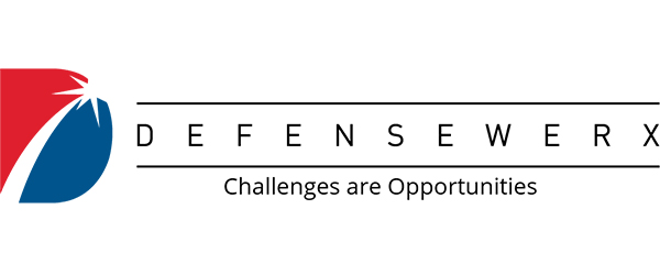 """Image of DEFENSEWERX's logo; includes a graphic that's shaped like a large""""D"""", with blue, red, and white colors. The """"D"""" is followed by the words """"DEFENSEWERX"""" with a line above and below and then the words """"Challenges are Opportunities"""" under the bottom line."""