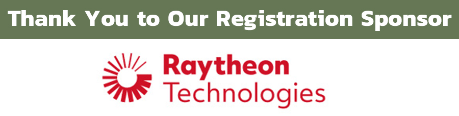 Image of the words: 'Thank You To Our Registration Sponsor', followed by the Raytheon Technologies logo