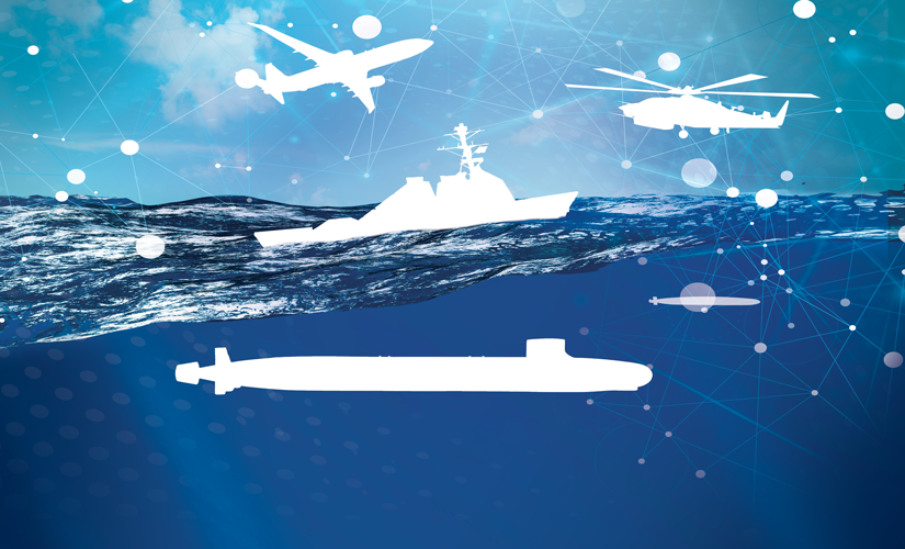 Image of half water half air. In the air, there is an outline of a plane and a helicopter. On the surface of the water there is a miltary ship and below the water there is a submarine.
