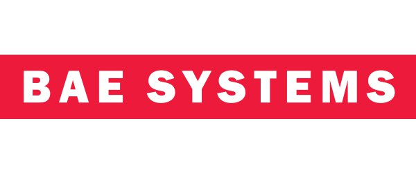"""BAE Logo: The words """"BAE Systems"""" in white text over a red bar."""