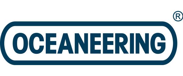 """Oceaneering Logo; the word """"Oceaneering"""" in all caps in a circle."""
