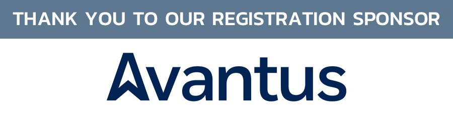 """Image: """"Thank you to our Registration Sponsor"""" (white text on gray-blue background) with the Avantus logo beneath."""
