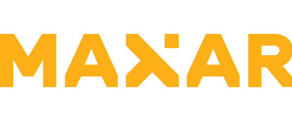 """Maxar logo; the word """"Maxar"""" in gold on a white background."""