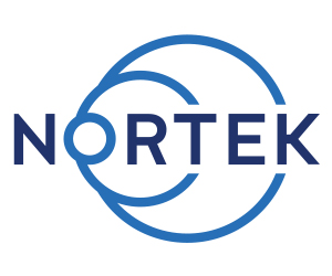 """Image of Nortek logo, with the words """"NORTEK"""" surrounded by two circles that look like radar signals."""