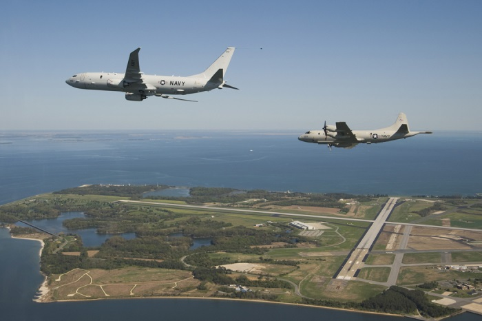 P-8 and P-3 over Pax River