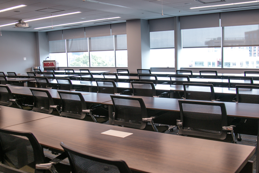 Picture of NDIA Eisenhower Conference Room setup in Classroom Style
